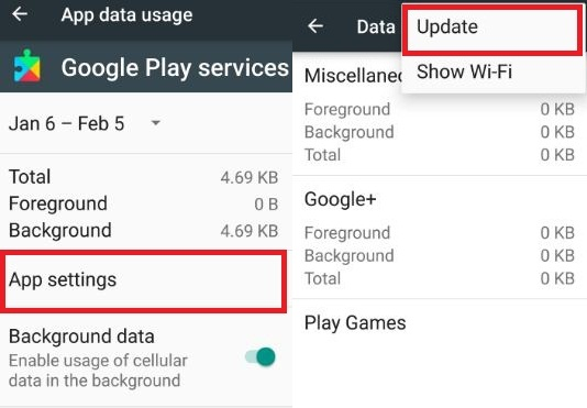Google Play Services data usage settings