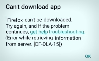 Google play Store error DF-DLA-15