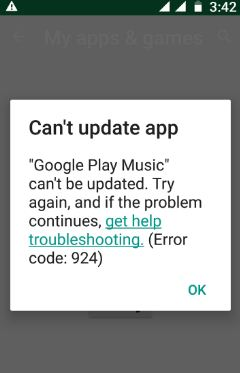Google play store error code 924