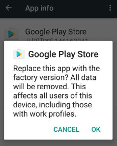 Google play store uninstall app update