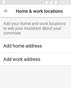 Home and work location in Assistant My Day feature