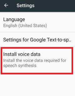 Install voice data under settings