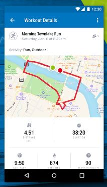 Map My Run GPS tracking app for android phone