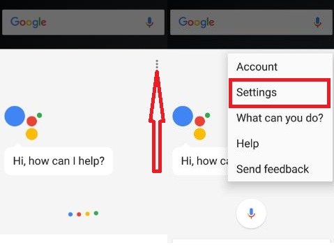 Open Google Assistant settings in your device