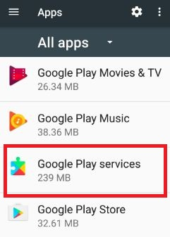 Open Google Play Services under apps
