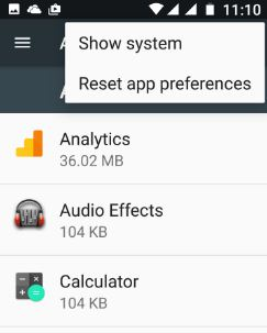Reset app preferences in android 7.0 nougat phone