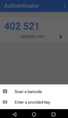 Scan a barcode to enable authenticator app in android