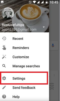 Touch settings under Google