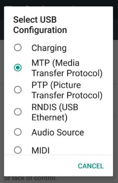 USB configuration settings in nougat 7.0