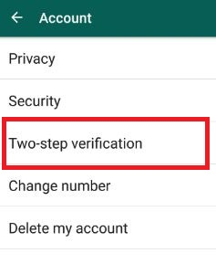 WhatsApp two step verification in account settings