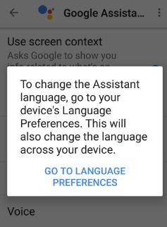 change language preferences Google Assistant
