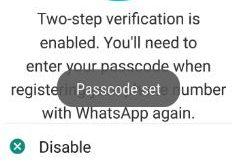 change passcode of WhatsApp two step verification