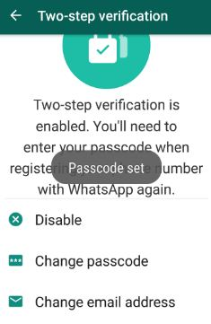 change passcode of WhatsApp two step verification