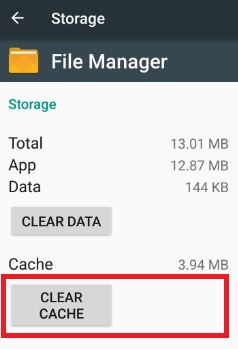clear cache of file manager in android nougat