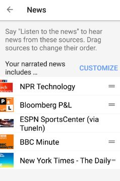 customize news channel in Assistant