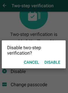 disable WhatsApp two step verification in android device