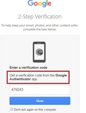 enable Google authenticator app for Gmail