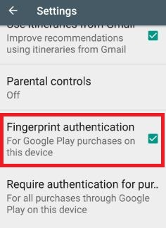 enable fingerprint authentication for Google play purchases
