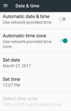 set data and time in android 7.0 nougat device