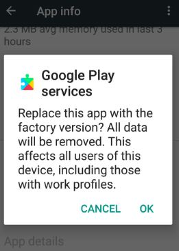 uninstall Google play services updates