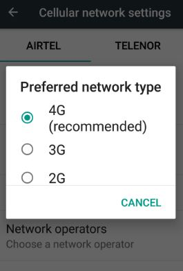 use network preference to save battery android