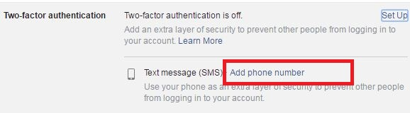 Add phone numebr to enable two step verification facebook