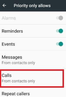 DND calls settings in nougat phone