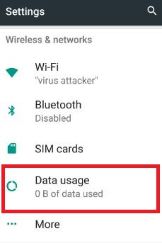 Data usage under wireless & networks settings in nougat