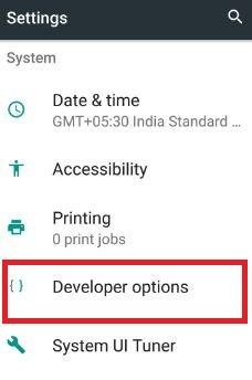 Developer options under system section in 7.0 nougat