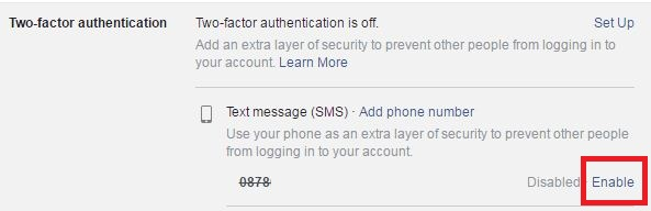 Enable facebook two factor authentication on pc