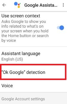Enable or disable OK Google detection in moto G4 plus
