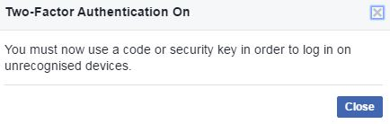 Facebook Two factor authentication on in desktop