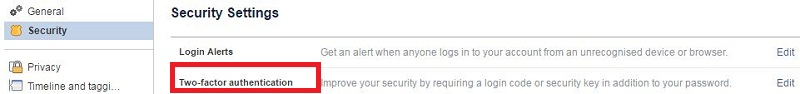 Facebook two factor authentication settings