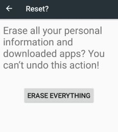 Factory data reset android nougat 7.0 device