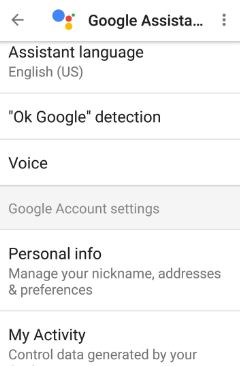 Google Assistant settings in android phone