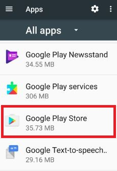 Google play store under apps in phone