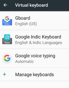 Open Gboard in virtual keyboard
