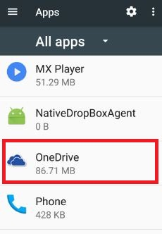 Open onedrive app in android