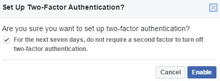 Set up facebook two-factor authentication