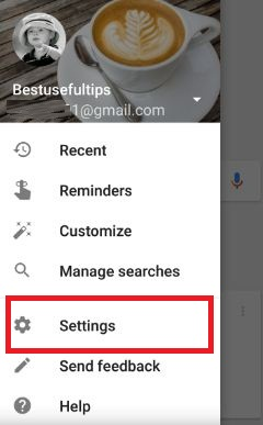Tap settings in Google App android phone