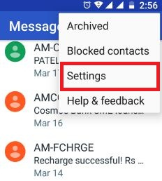 Tap settings under message app