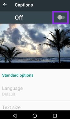 Turn off captions in android nougat phone