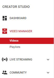 Video under video manager in YouTube
