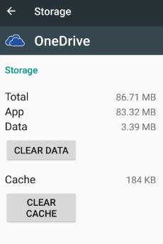 clear cache of Microsoft onedrive in android
