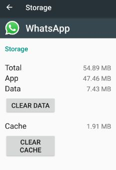 clear cache of WhatsApp in android device