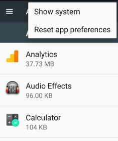 reset app preferences in nougat 7.0 device