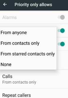 set phone call settings in DND