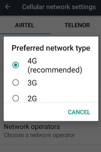 set preferred network type in android 7.0 nougat phone
