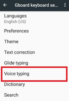 voice typing under Gboard keyboard option