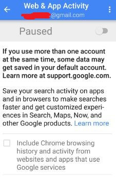 Disable web and app activity in your android nougat